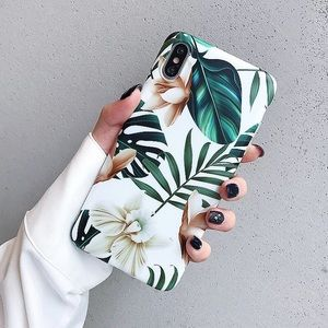 Tropical Floral Leaf Silicone iPhone Case